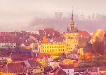 Wall Mural - The Clock Tower in the medieval city of Sighisoara, Transylvania landmark, Romania