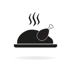 Cooked turkey icon. Roasted chicken ready for Thanksgiving. Vector illustration.