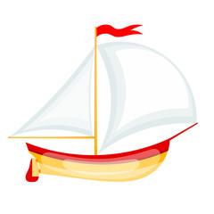 Vector illustration of a small sailing yacht. Cartoon yacht on w