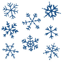 Collection of drawn snowflakes - vector