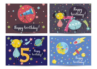 Happy birthday cartoon greeting cards on space theme. Telescope, cute aliens, flying saucer, Earth, comet, satellites vectors on starry background set. Bright invitation on childrens costumed party