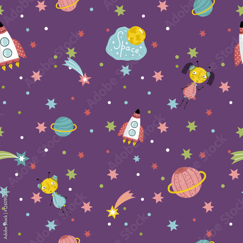 space interstellar travels cartoon seamless pattern. Black Bedroom Furniture Sets. Home Design Ideas