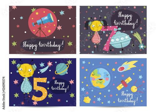"""Happy Birthday Cartoon Greeting Cards On Space Theme"