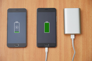 Mobile phone charger with power bank.