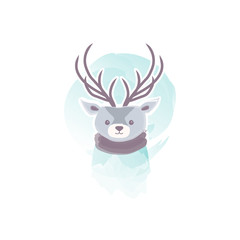 Deer in watercolor style. Winter vector illustration.