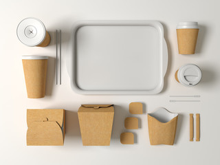 Burger bar set craft paper blank design fast food cardboard tableware. Mockup template kraft cardboard cup coffee. Package wok box french fries potato chicken nugget. White background 3d illustration.