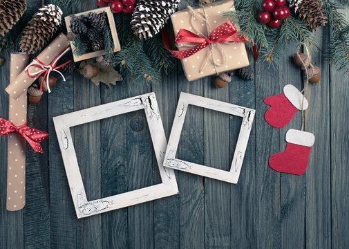 Christmas background with photo frame, spruce, gift box, Santa C