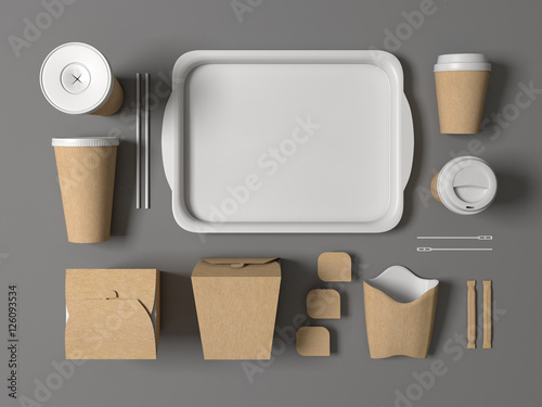 Burger bar set craft paper blank design fast food cardboard ...