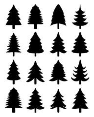 Set of green Christmas trees, vector illustration