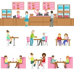 People In Sweet Bakery Cafe Set Of Illustrations