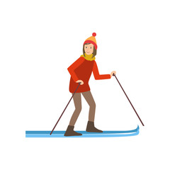 Woman Skiing Winter Sports Illustration