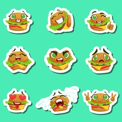 Burger Cute Emoji Stickers Set On Green Background