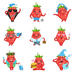 Geometric Strawberry Character In Funny Situations