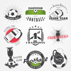 Set of Soccer Football Club. Sport Team. Detailed elements. Old retro vintage grunge. Typographic labels, stickers, logos and badges