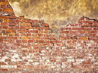 Old Vintage Red Brick Wall With Sprinkled orange Plaster Texture