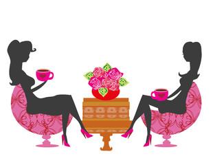 girls in coffee break - silhouette Illustration