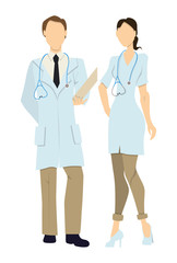Isolated professional doctors. Male and Female doctors in whites with stethoscope.