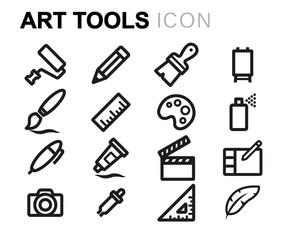 Vector line art tools icons set