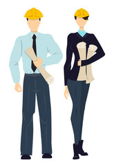 Isolated professional engineers. Male and female workers standing on white background in hardhats with plans.