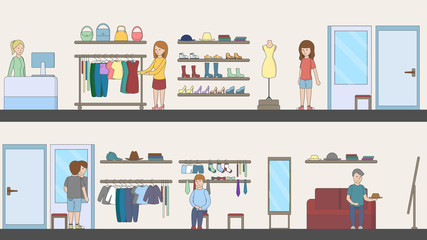 Shopping mall interior. Indoor interior. Fashion boutique. Mirrors and shelves and customer.
