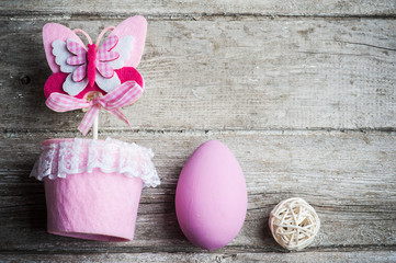 Pink easter egg and butterfly