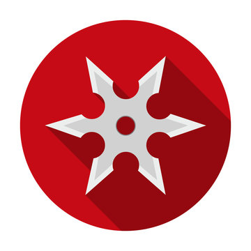 Metal shuriken icon in flat style isolated on white background. Weapon symbol stock vector illustration.