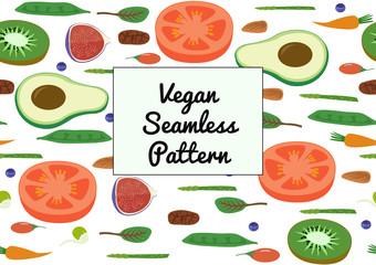 Superfood Vegan Eco Organic Raw Vegetables and Fruits Seamless horizontal Pattern. Flat Lay vector Vegetarian Bio Fresh Market