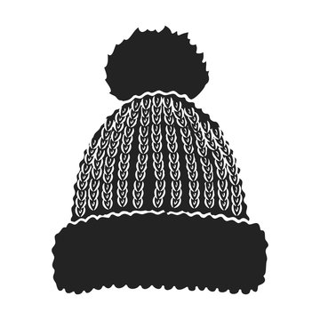 Knit cap icon in black style isolated on white background. Ski resort symbol stock vector illustration.