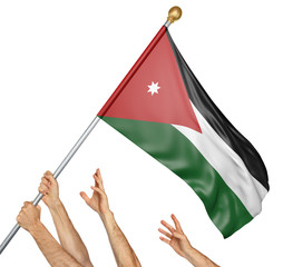 Team of peoples hands raising the Jordan national flag, 3D rendering isolated on white background