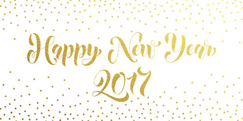 Happy New Year 2017 gold glitter card, poster