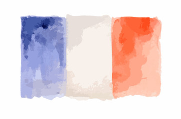 Watercolor flag of France. Isolated country symbol on white background.