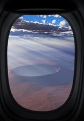 Window view on alien landscape.