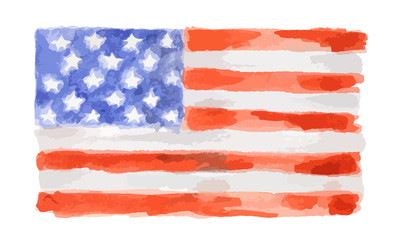 Watercolor flag of USA. Isolated country symbol on white background.