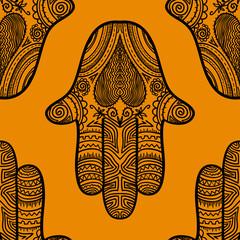 Hamsa, hand of Fatima, vector illustration. Seamless background.