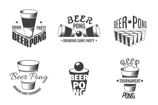 Beer pong labels. Party badges vector