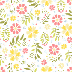 Wall Mural - Flower embroidery seamless pattern vector