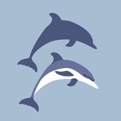 Dolphin vector illustration style Flat set