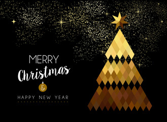 Merry Christmas design of gold low poly pine tree