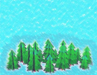 Spruce trees.Drawing style.Digital colorful illustration.