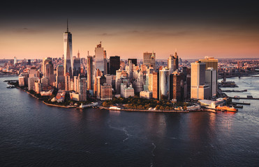 new york city skyline aerial view