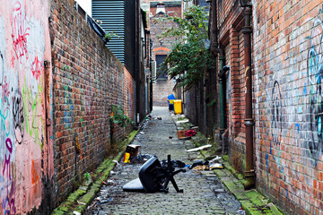 Wheelie bins in a garbage strewn alleyway Fototapete