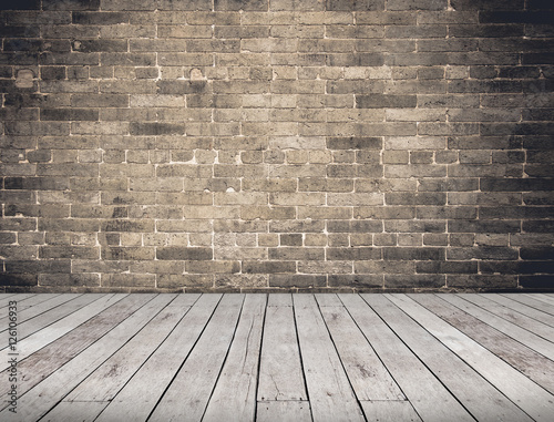 Quot Empty Room Perspective Grunge Brick Wall And Wood Plank