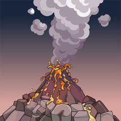 cartoon volcano spewing lava and smoke