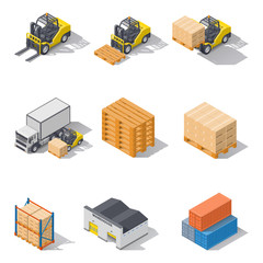Storage equipment isometric icons set.