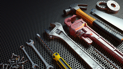 Close-up tools .3d Rendering.