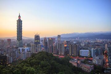 Taipei skyline at night, Taipei, Taiwan.