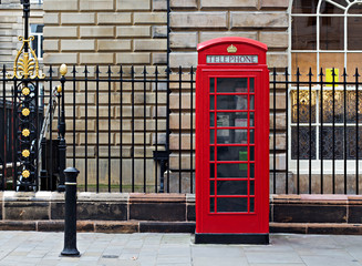 Classic single British red phone box