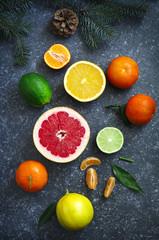 Fresh assorted citrus fruits