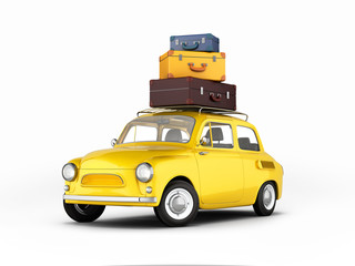 Little retro car with bags travel concept on white background 3d