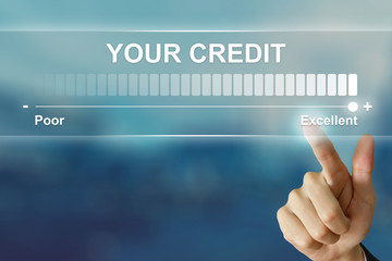 business hand clicking excellent your credit on virtual screen